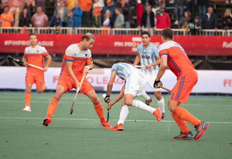 Billy Bakker in de Pro League wedstrijd tegen Argentinië.