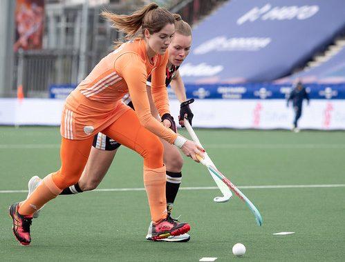 Marloes Keetels in actie voor Oranje.
