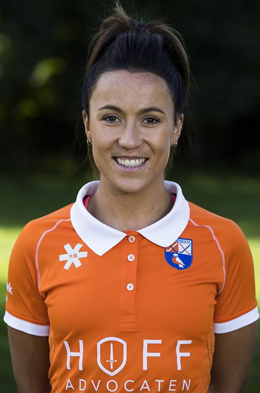 Bloemendaal - Anna O'Flanagan (Bl'daal) .  Dames I , seizoen hoofdklasse hockey, 2017-2018.  COPYRIGHT KOEN SUYK