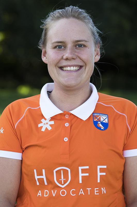 Bloemendaal -  keeper Diana Beemster (Bl'daal)  .  Dames I , seizoen hoofdklasse hockey, 2017-2018.  COPYRIGHT KOEN SUYK