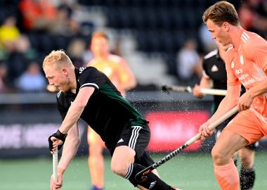 Jorrit Croon in actie op het EK Hockey 2021